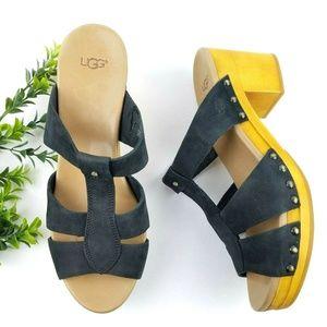 UGG Jennie Black Leather T-Strap Sandals  S27